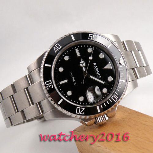 40mm parnis black dial SS Case Sapphire glass Luminous Deployment mens watches top brand luxury automatic mechanical men's Watch цена и фото