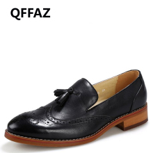 QFFAZ Autumn New Pointed Toe Leather Flats Men Shoes Tassel Loafers Dress Wedding Oxford Shoes Men Brogue Flats Shoes
