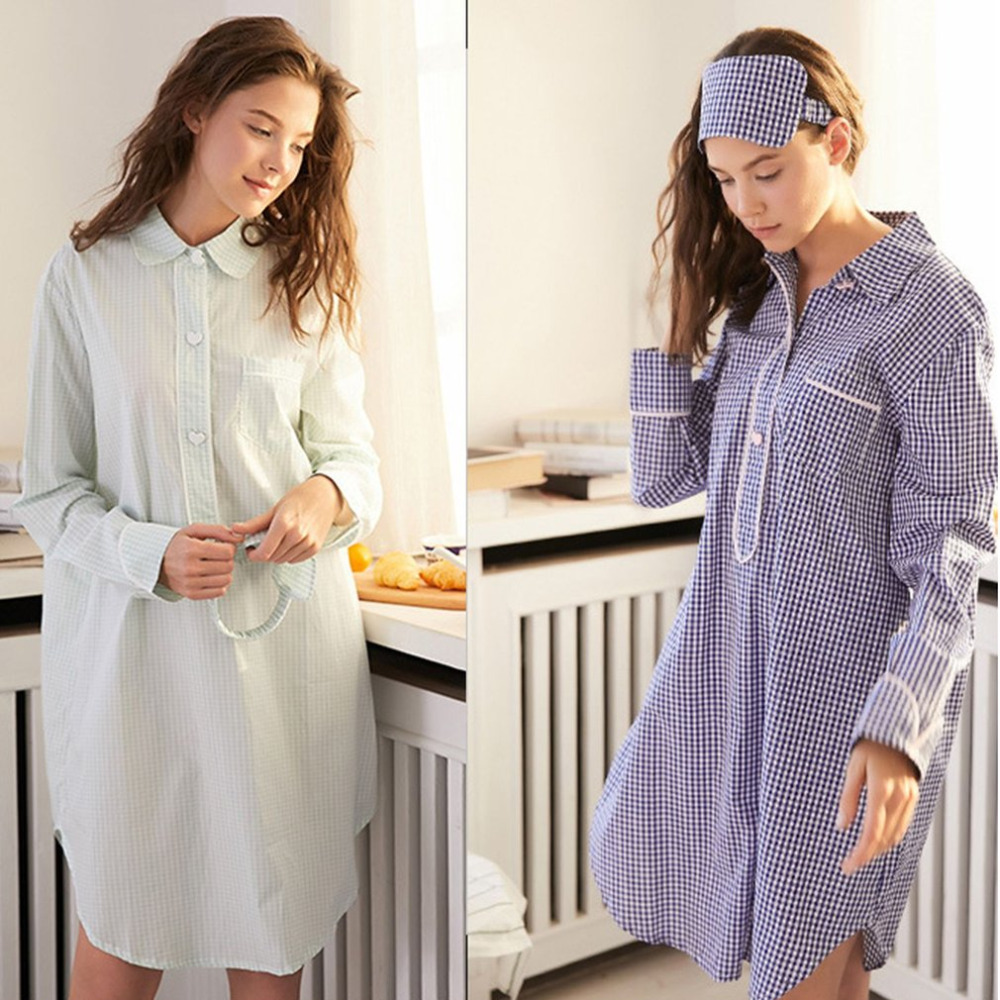 Striped Cotton Nightgowns Sleepwear Female Sleep Lounge Women Indoor Clothing Sexy Loose Dress Nightdress