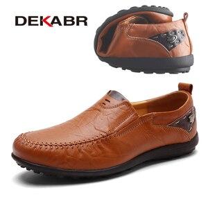 Image 5 - Deakbr respirável mocassins de couro genuíno dos homens sapatos casuais de alta qualidade adulto deslizamento em mocassins tênis masculino 46