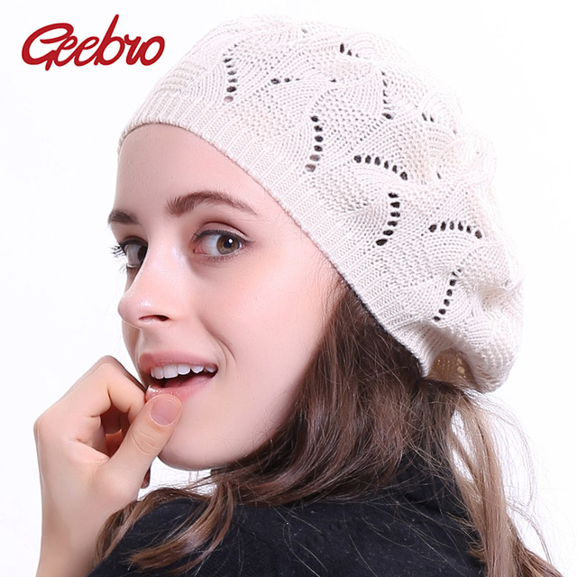 14b5de29cabb6 Geebro Women s Plain Color Knit Beret Hat Ladies French Artist Beanie Beret  Hats Spring Casual Thin Acrylic Berets for Women