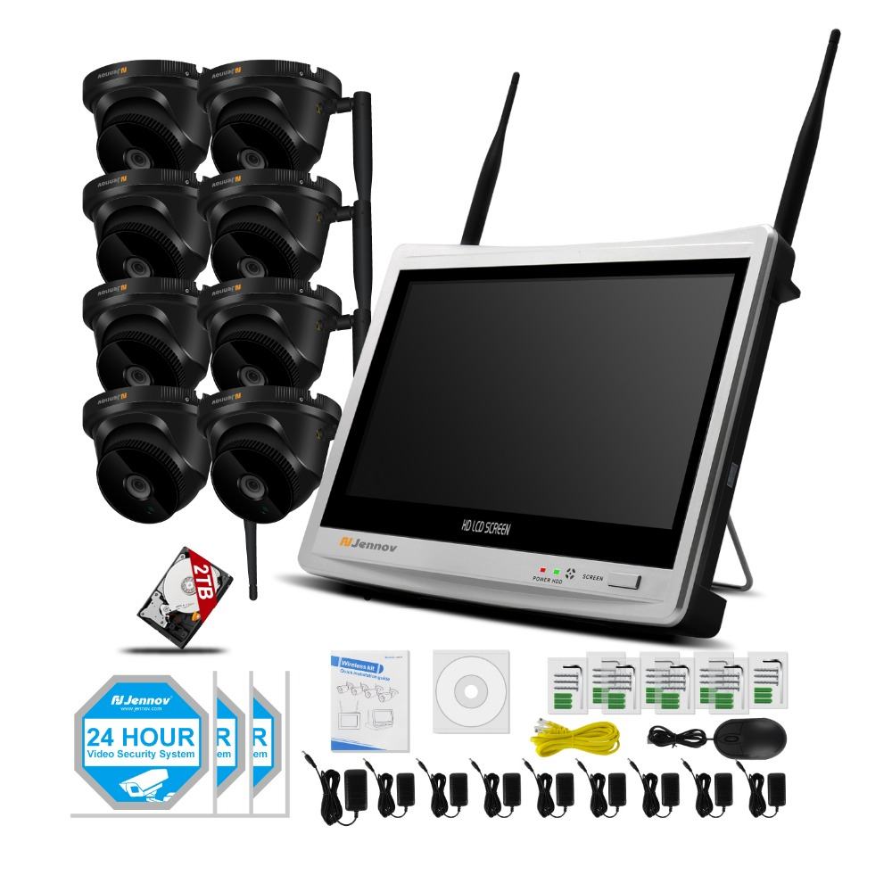8CH Wifi CCTV System 12 inch LCD Monitor Wireless NVR 720P 1MP Outdoor Waterproof Camera P2P Video Security Surveillance Set Cam