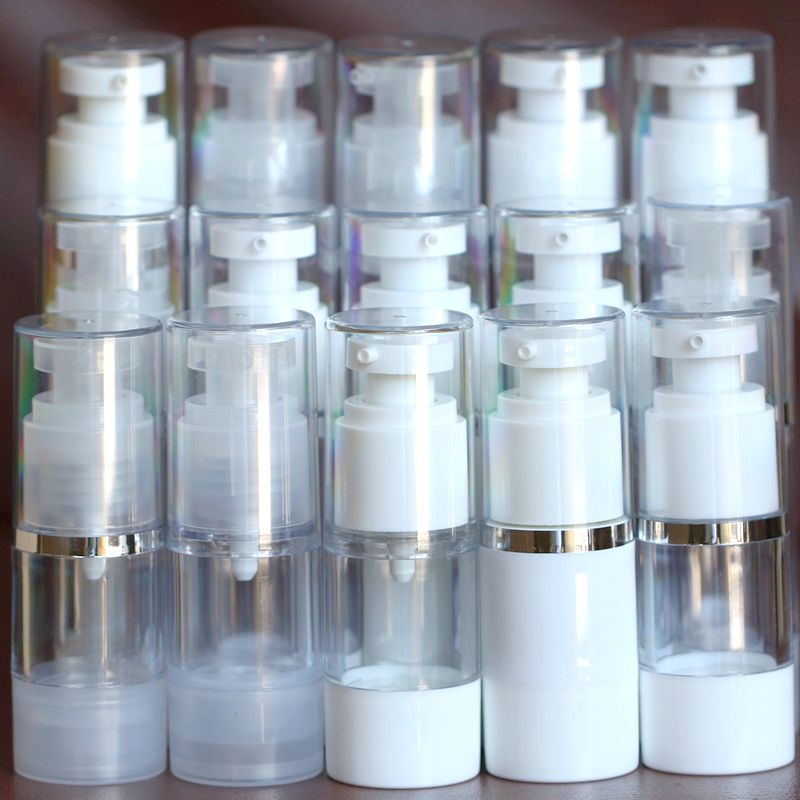 30pcs/lot Silver Rim Neck Clear And White As Cosmetic Bottles Plastic Packaging Bottle,vacuum Bottle 15ml 30ml 50ml Refilling Convenient To Cook Beauty & Health