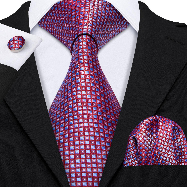 Barry.Wang Fahsion Designer Purple Novelty Mens Silk Ties Gravat Hanky Box Gifts Set Ties For Men Wedding Groom Neckties LS-5172