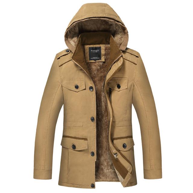Homens Jaqueta de Inverno Moda Casaco de Lã Dos Homens Quentes de Espessura Parka de Algodão Com Capuz Homens Casual Masculino Zipper Outwear Plus Size 6XL