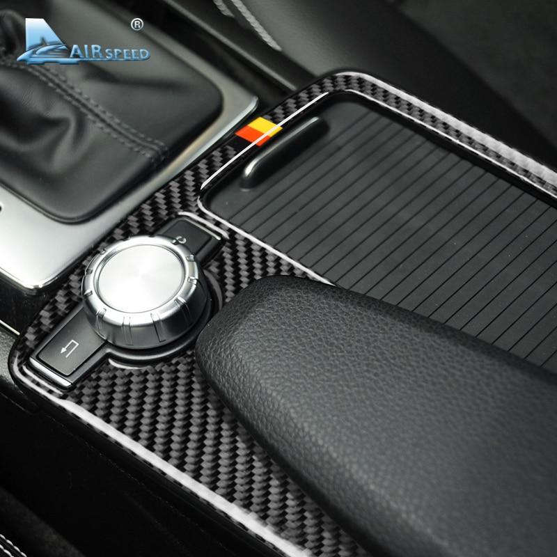 Vitesse pour Mercedes Benz Classe C W204 E Classe W212 Accessoires En Fiber De Carbone De Voiture Intérieur Accoudoir Couvercle Du Panneau Garniture Décorations