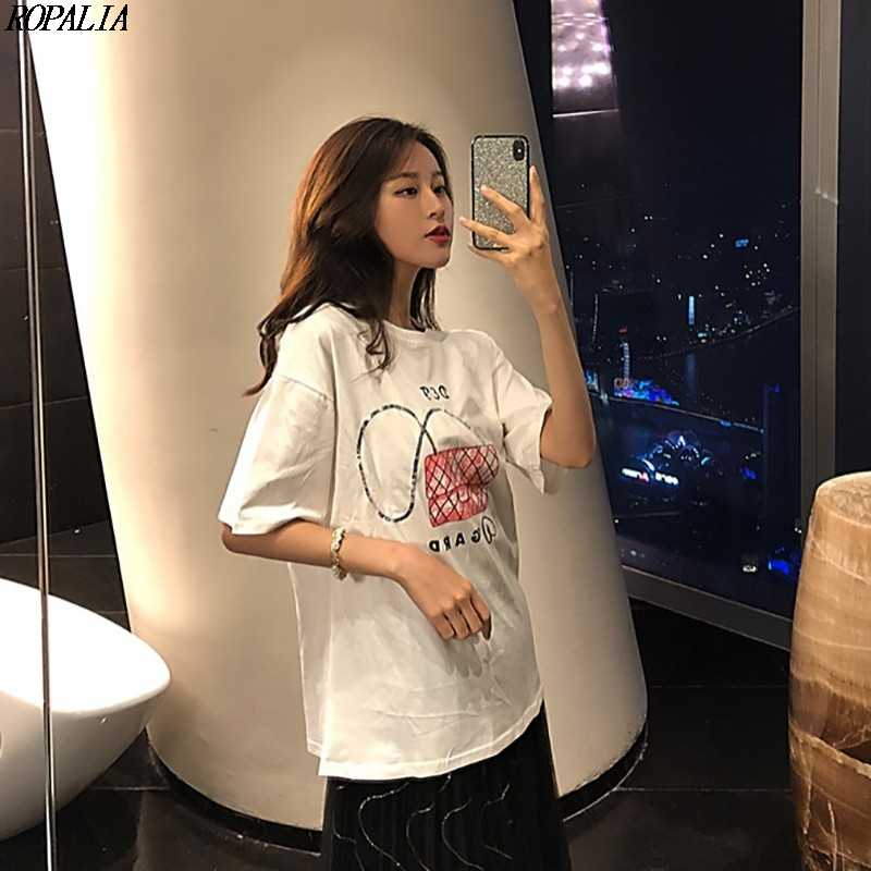 O Pescoço Lantejoulas Dos Desenhos Animados Bolsa de Impressão das mulheres de Manga Curta T-Shirt Casual Solto Verão T-shirt do Estilo Coreano
