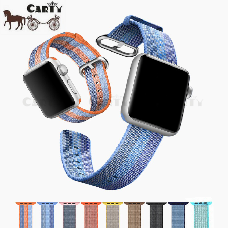 Woven Nylon Watchband for iWatch Apple Watch 38mm 42mm Fabric Strap Band with Built-in Link Connector Adapter