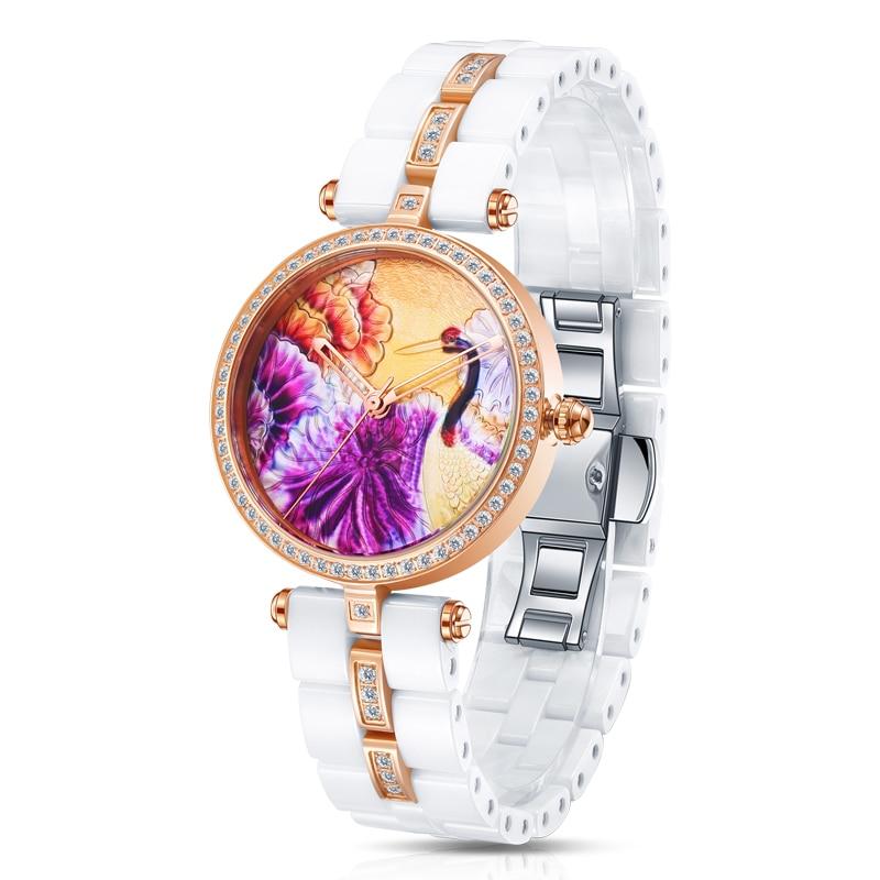 TIME100 Уникальные Керамические женские Наручные Часы Трехмерная Кран Шаблон Кварцевые Часы Керамические Ремешок Дамы ЧАСЫ - 2