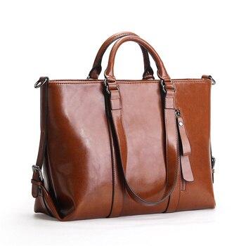 Nesitu Red Brown Black Blue Office Work OL A4 Split Leather Women Handbags Shoulder Bag Woman Messenger Bags Lady Totes #M6178 grande bolsas femininas de couro