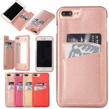 Зеркало кошелек чехол для iPhone 7 Plus Капа Пояса из натуральной кожи зерна телефона чехол для iPhone 7 Plus сальто назад карты карман Размеры дополнительно