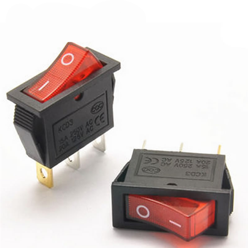 A19 4pcs/lot Mini Boat Rocker Switch AC 250V 16A / AC 125V 20A 3 Pin ON/ON SPST Snap in with RED LED Light 13mm*30mm