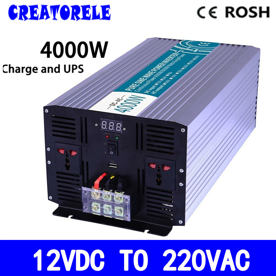 P4000-122-C 4000w pure sine wave inverter 12v to 220v solar inverter voltage converter with charger and телевизор telefunken tf led24s37t2