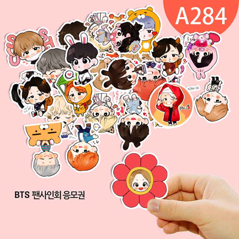 1Piece Cute Expression BTS Stickers Youth Group Cartoon Handpainted ...