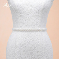 AW Cintura Sottile Cinture Da Sposa Elegante Bianco Da Sposa Fatto A Mano Perle Sash Con Nastro Organza