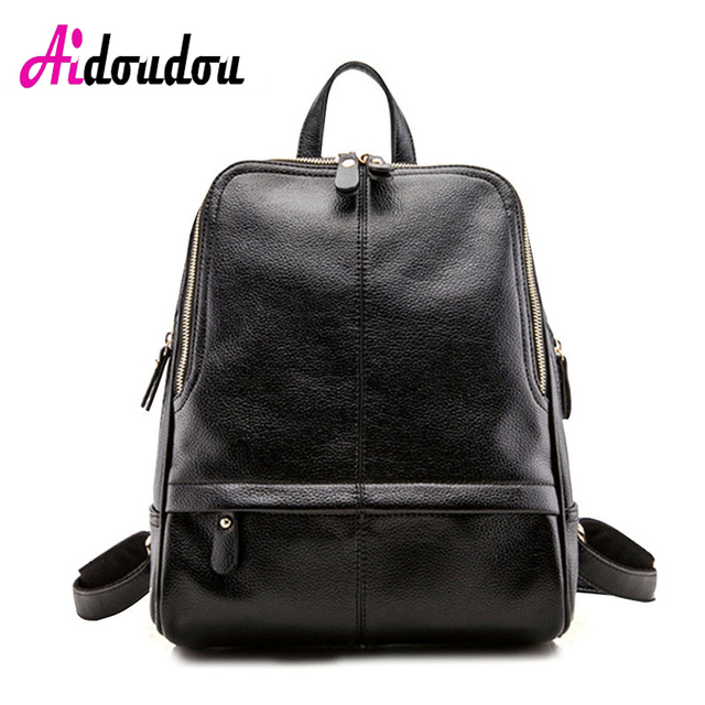AIDOUDOU BRAND Elegant Backpack Pu Woman Five Color School Backpack Famous Brand  Backpack College Campus Student Bookbag Fashion 15c9c56a4dc95