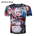 Mens Harley Quinn Joker T Shirts 3D Deadshot T-shirts Funny Movie Tops Summer Suicide Squad Camisetas 2017 T shirt ZOOTOP BEAR