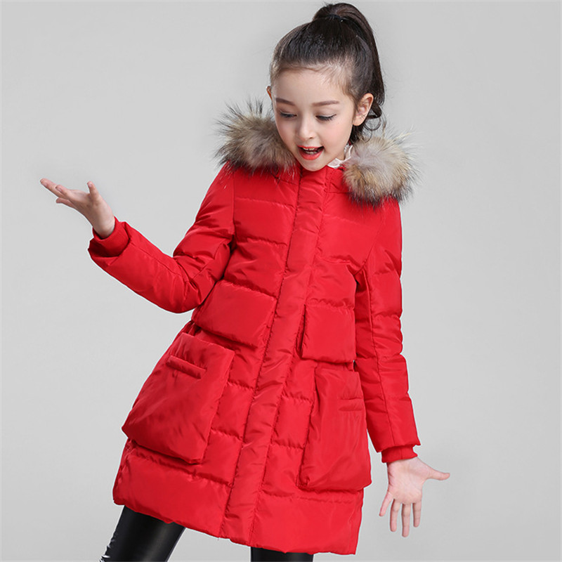 Winter Girls Down Coats Baby Girls Hooded Raccoon Fur Collar Overcoats Teenage White Duck Down Outerwears Children Jackets P287 недорого