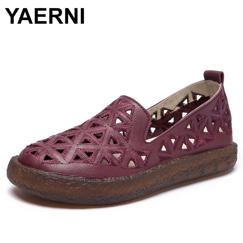 YAERNI 2018 New Women Loafers Lady Flat Shoes Woman Summer Flats Hollow Out Comfortable Soft Outsole Genuine Leather Moccasins 2017 women loafers lady flat shoes woman summer flats hollow out comfortable soft outsole genuine leather moccasins