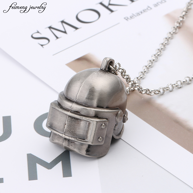 Game PUBG Playerunknowns Battlegrounds Pans series 3D helmet Necklace Pendant Men fashion Jewelry steampunk free delivery