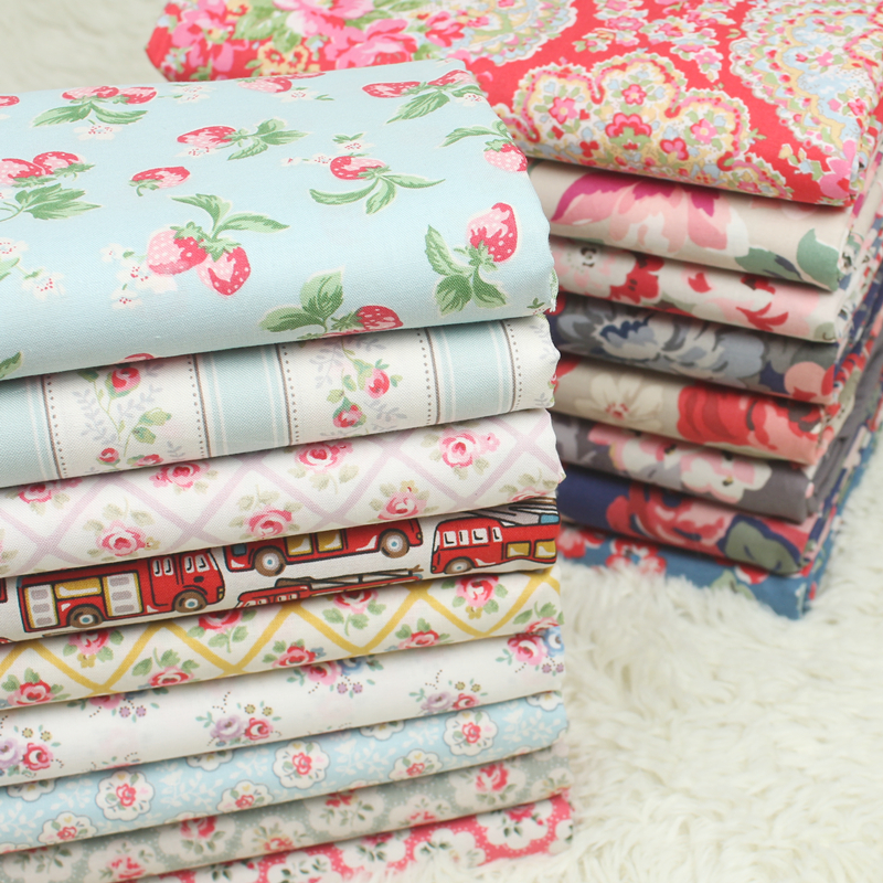 1 metro llano algodón tela de celulosa con estampado floral, hecho