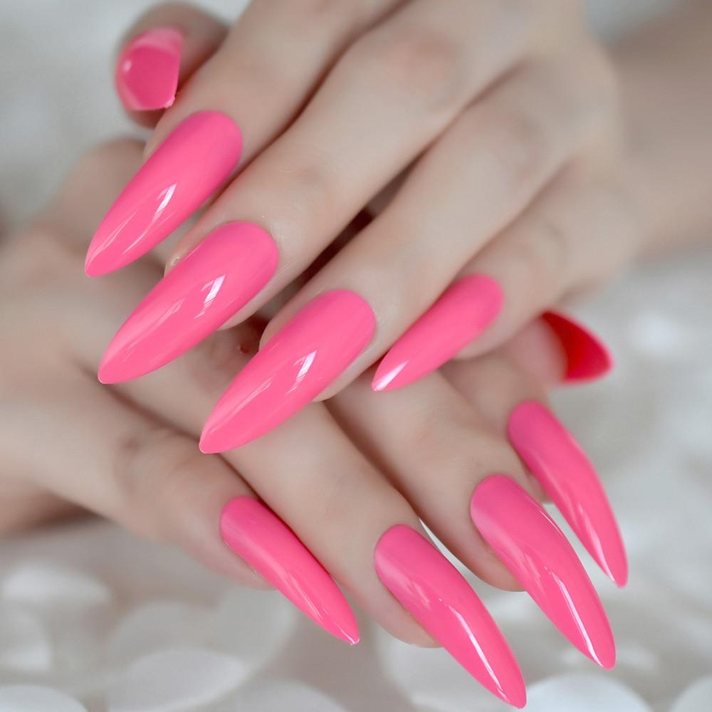 Extra long Sharp Nail Art Tips Rose Pink UV Artificial Pre ...