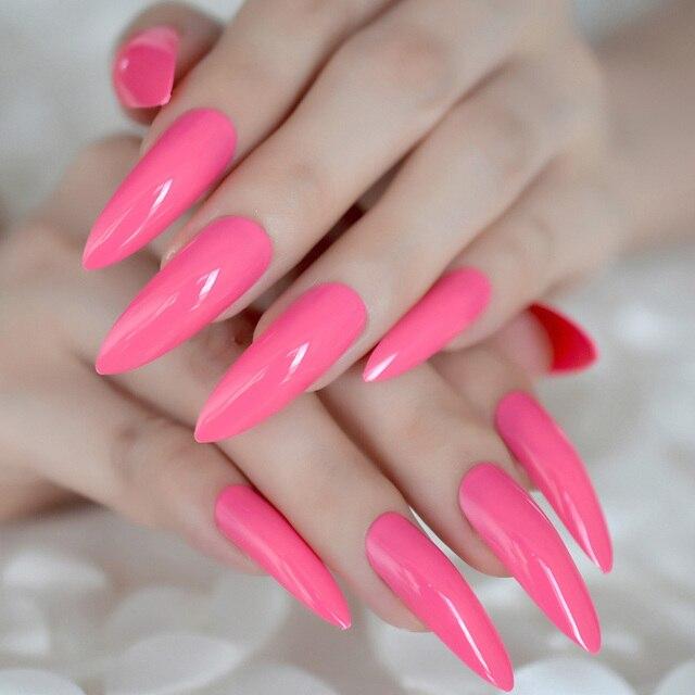 Aliexpress Buy Extra Long Sharp Nail Art Tips Rose Pink Uv