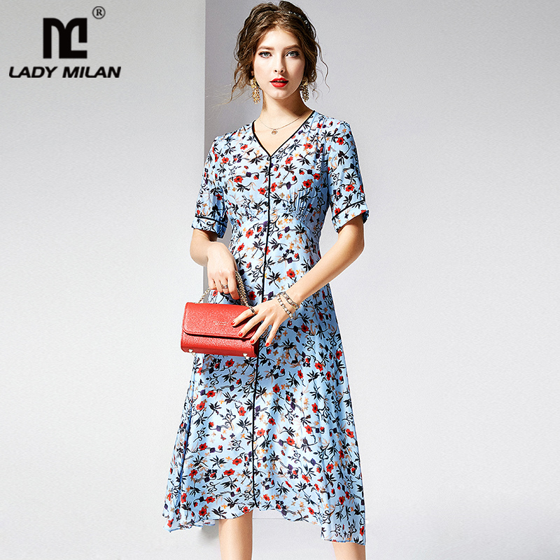 100 Natural Silk Women s Runway Dresses V Neck Short Sleeves Floral Printed Casual Fashion Summer