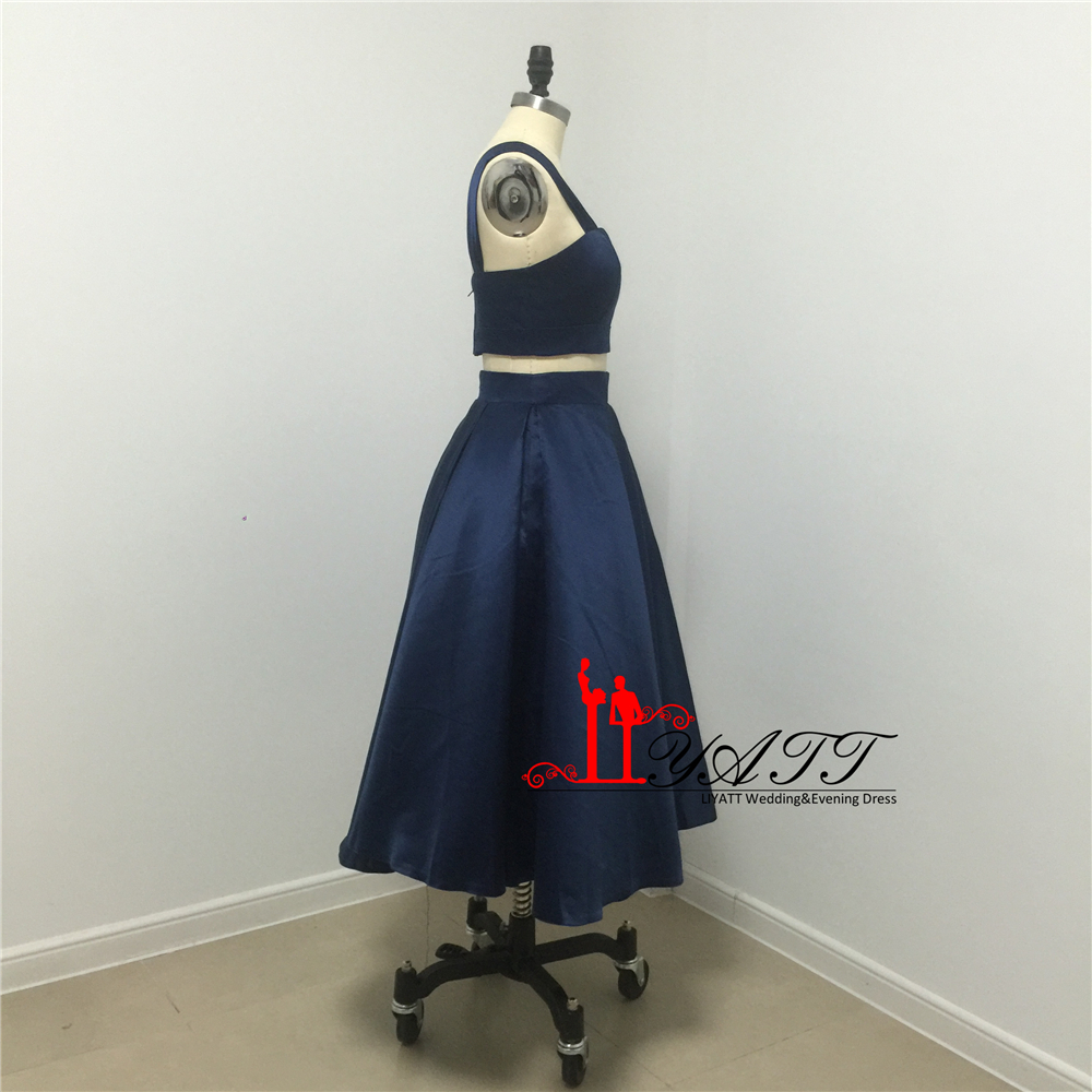 40756e9f52 Navy Blue Robe de Cocktail Elegant Sexy Short Cocktail Dresses Graduation  Dresses Two Pieces Short Prom Dress Party Gowns 2017-in Cocktail Dresses  from ...