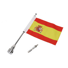 Motorcycle Spain Flag Banner + Flag Pole For Harley Yamaha Honda GoldWing GL1800 GL1500 Rear Side Mount CNC Aluminum Flagpole