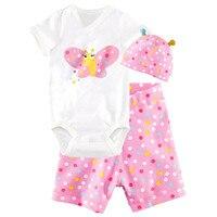 Newborn Baby Boys Girls Short Sleeve 3PCS Clothing Set Rompers Hat Pants Summer Cotton Boby Jumpsuit