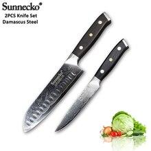 SUNNECKO 2PCS Damascus Steel Knife Set 7 Santoku 5 Utility Japanese VG10 Core Sanding G10 Handle Meat Cutter Cook Knives