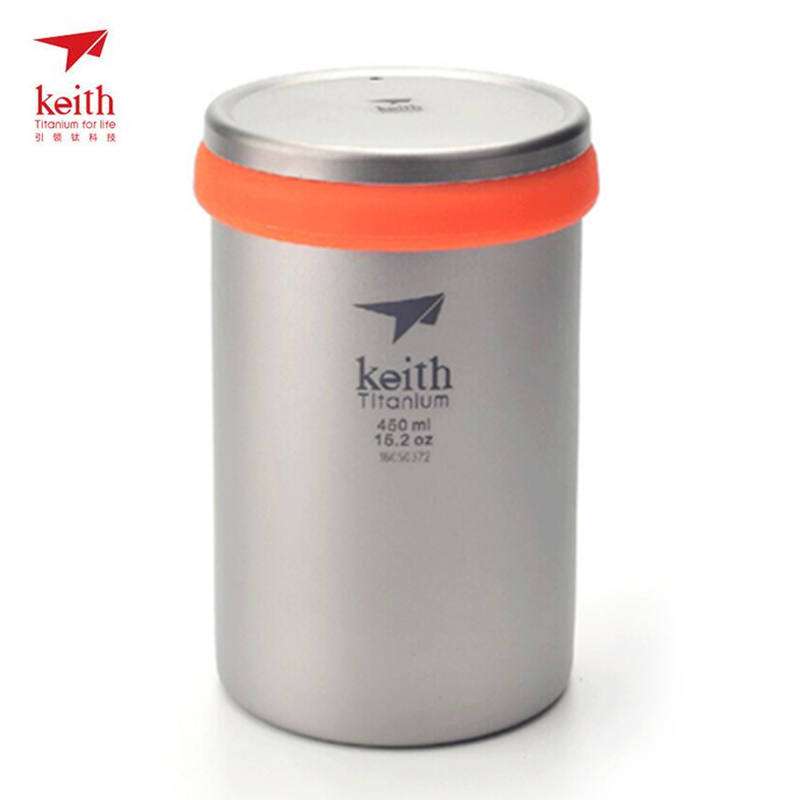 450ml/15.2oz Double Wall Keith Titanium Cup with Loose Coffee Infuser Camping Tea Cup With Lid Travel Mug Tea Maker Ti3521 keith double wall titanium beer mugs insulation drinkware outdoor camping coffee cups ultralight travel mug 320ml 98g ti9221