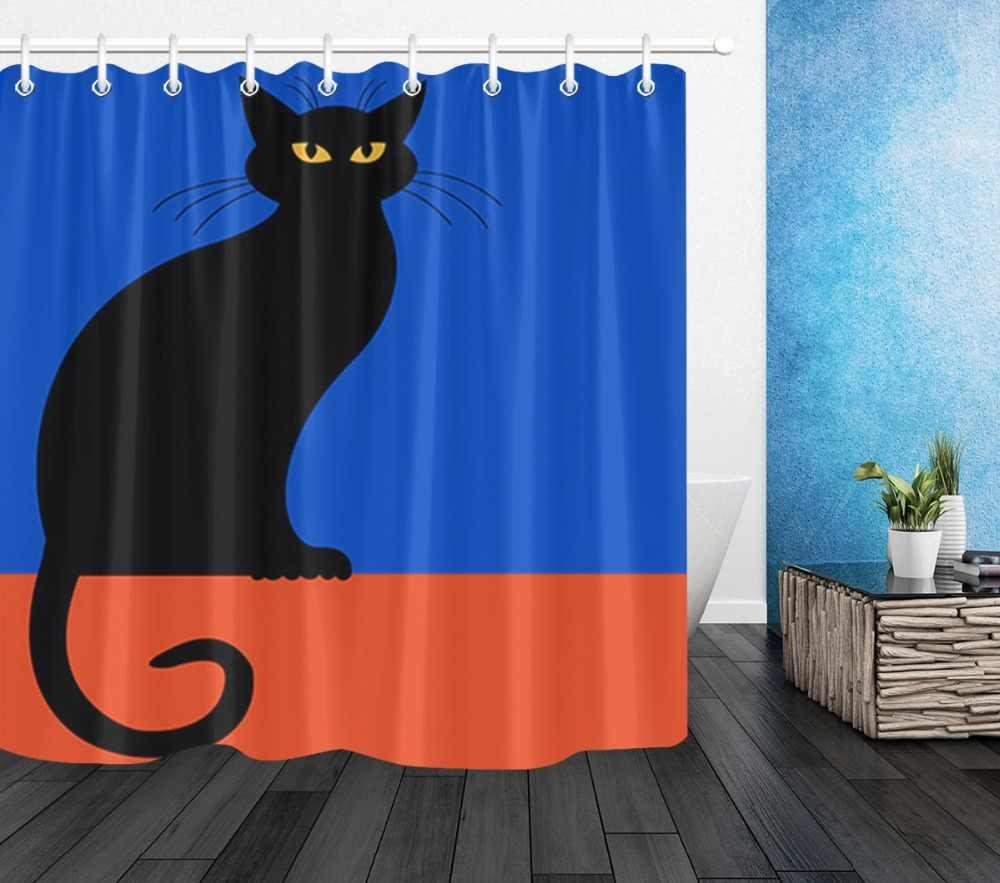 72 ''ห้องน้ำผ้ากันน้ำผ้าม่านห้องอาบน้ำ 12 ตะขอ Bath อุปกรณ์เสริมชุด Halloween Black Cat สีแดงและสีฟ้าพื้นหลัง
