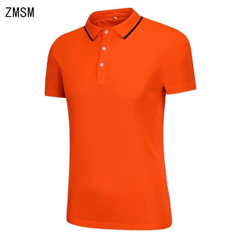 ZMSM 2018 Short Turn-down collar Mens Exercise Polo Running fitness Leisure T-shirts Sports advertising shirts Custom JY5715