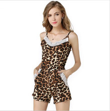 2016 Sexy Leopard Chiffon Lace Collar harness V women's clothing Siamese pants Big bag