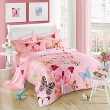 Pink Butterfly Bedclothes Tencel Bedding Set Luxury 4pcs Soft Bed Linen Princess Duvet Cover Sets King Queen Size 2017 New