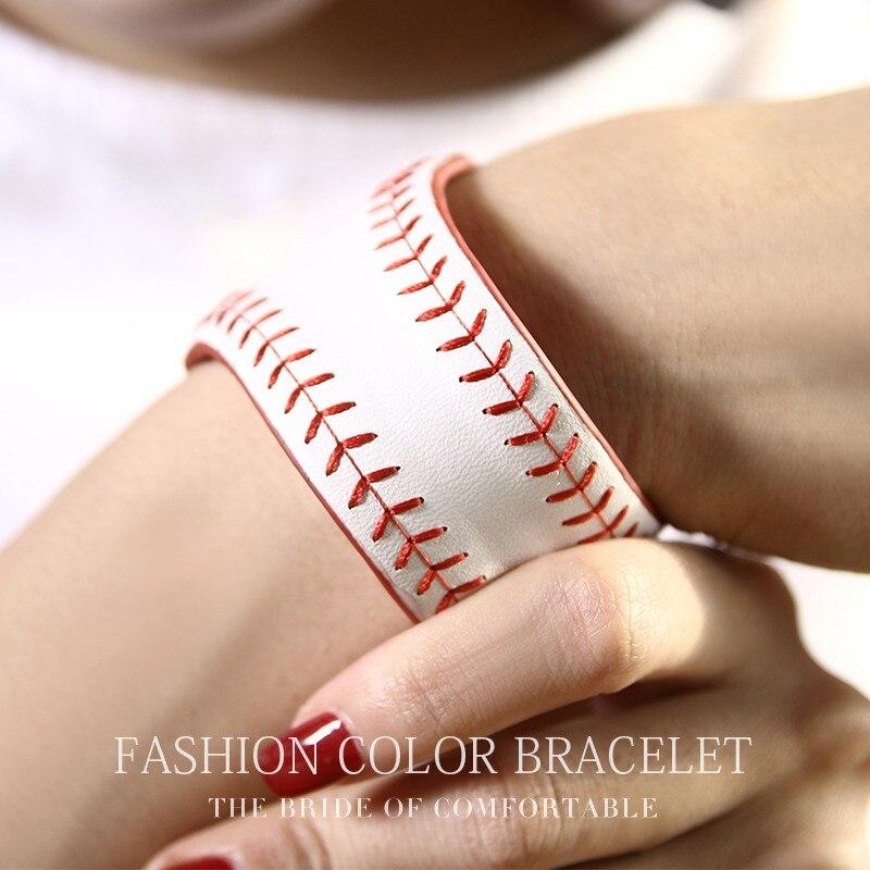 Brand Genuine Leather High Quality 2018 New Model Luxury Wide Handmade Sewing Baseball Bracelet