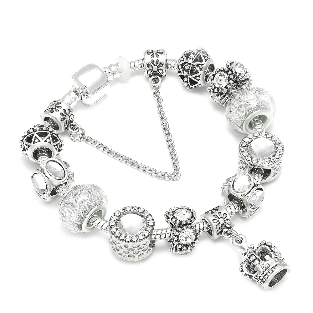 Queen Jewelry Silver Charms Bracelet & Bangles With Queen Crown Beads Brand Bracelet for Women Jewelry Gift пандора браслет с шармами