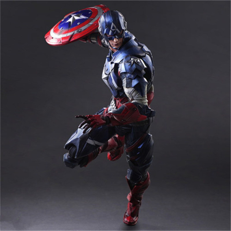 25.5CM PVC Play Arts The Avengers Toys Captain America Action Figure 1/6 Figama Civil War Figure Play Arts Collection L1059 captain america civil war iron man 618 q version 10cm nendoroid pvc action figures model collectible toys