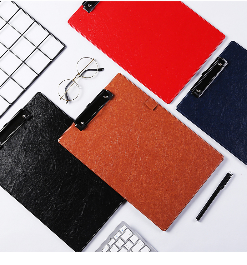 Hang On A4 PU Leather Clip Folder Paper File Holder Car Documents Holder Writting Clipboard With Pen Loop Black Red Blue