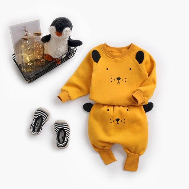 Winter Baby's Cartoon Animal Printed Sweatshirt with Pants Set 3