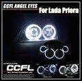 2*115 + 2*105mm CCFL Angel Eyes Faróis Para Lada Priora 7000 K Xenon branco CCFL Halo Anéis Kits Luz Apto Para A Rússia Lada Priora