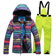 New 2016 womens ski suits jackets colorful wave pattern jacket+bib pants Waterproof Windproof Breathable snowboard skiing sets 2016new skiing sets jackets women ski suits jackets snowboard clothing jaqueta feminina inverno ski jacket waterproof breathable
