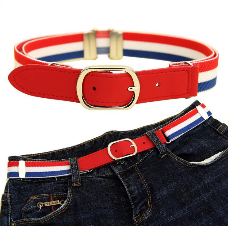 No Buckle Adjustable Belt For Girls Buckle Free Kids Stretch Belt for Jeans Pants Flag 015