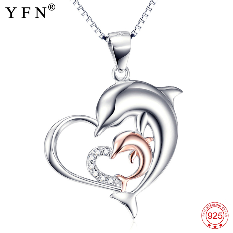 Necklace 925 Sterling Silver Necklace Love Heart Jewelry Mother Child Dolphin Pendant Necklaces Fashion Christmas Gifts GNX10051 original dropshipping my sweet pet paw love necklace girl 925 sterling silver pendant necklace for women fashion jewelry gifts