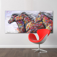 HDARTISAN Wall Art Picture Canvas Oil Painting Animal Print For Living Room Home Decor The Two Running Horse No Frame 2