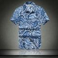 Praia camisa Camisas Casuais 2016 Homens Rápida dryingClothing Poliéster Verão Camisa de Manga Curta camisa dos homens camisa de vestido de praia floral