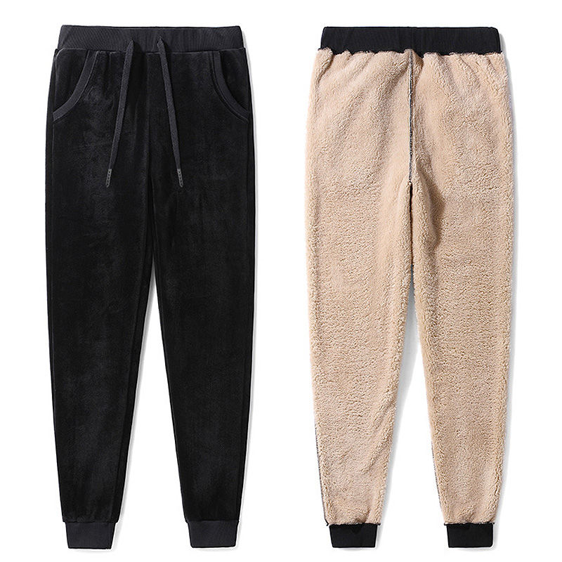 Or velours agneaux laine hiver Pantalon femmes épaissir à lacets chaud coton Pantalon femmes doux Long pantalons de survêtement Pantalon Femme C5151