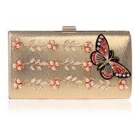 Homeda Handtassen Evening Bag Knitted Butterfly Pearls Ladies Messenger Bag Woman Solid Chain Bolsos Bandolera Mujer